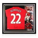 exclusivememorabilia.com Camiseta del Manchester United firmada por Paul Scholes. 2012-13. Marco Premium