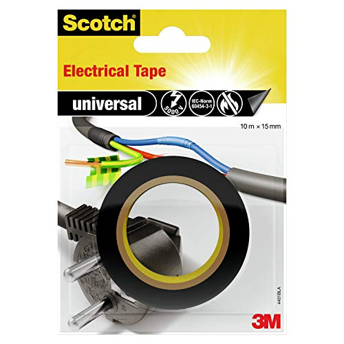 ScotchBlue 4401BLA Isolierband universal, 15 mm x 10 m, 1 Stück, Schwarz