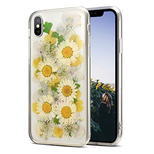iPhone Xs Max Flower Case, AHTONG Soft Clear Flexible Rubber Pressed Dry Real Flowers Case Girls Cute Floral Cover for iPhone Xs Max-Yellow