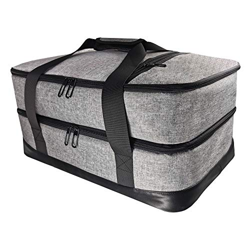 """Brandzini Insulated Casserole Double Carrier for lasagna potluck parties picnic beach XXL Size (18.1""""X 12.2""""X 9"""") and holds 10""""X 17""""dish Gray"""