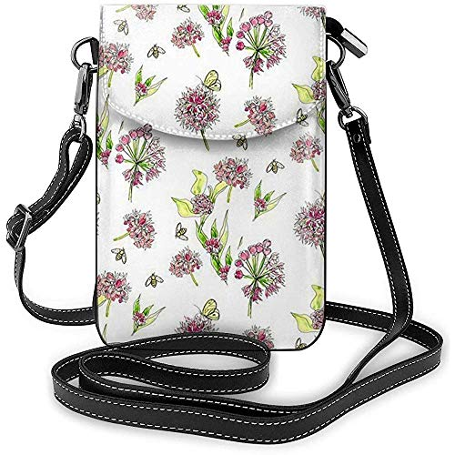 Blühende Wolfsmilch-Handy-Geldbeutel-Geldbörse für Frauen-Einkaufsreise-kleine Crossbody-Tasche