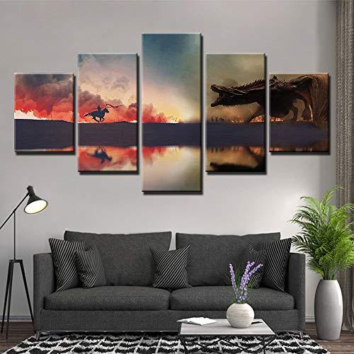 5 Stücke Leinwand Malerei Game Of Thrones Drachen Spitfire Bild Wandbilder Für Wohnzimmer Poster Und Drucke Wohnkultur(NO Frame size 1)