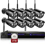 REIGY 3MP Kit Videosorveglianza Wifi Esterno con 2TB HDD, 8CH NVR+8x1296P IP66 Impermeabile Telecamera Sorveglianza, Camera Wireless Registrazione Audio Visione Notturna, Sensore di Movimento Nero