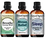 Natural Riches - Breathe Essential Oil Blend - Stress Relief Essential Oil Blend - Sleep Essential Oil Blend
