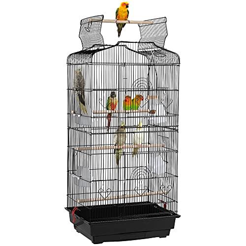 Yaheetech Cage à Oiseaux Perruche Cage avec Toit Ouvrable pour Calopsitte élégante Inséparable Perruche Ondulée Canaris 46 x 36 x 92 cm Noir