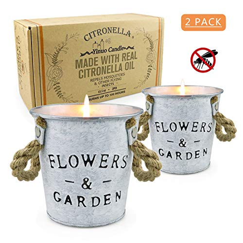 Citronella Candles outdoor, 13.5 Oz Long Lasting Natural Soy Candle Bucket with Pure Citronella oil for Bedroom Kitchen Garden Patio Balcony Indoor Outdoor Air Cleansing and Bug Repellent, 2 Pack