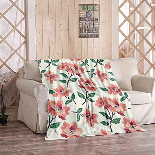 Kuidf Fall Farmhouse - Manta decorativa para cama, diseño de flores, color botánico, de franela, acogedora y suave, para sofá de dormitorio, 50 x 150 cm
