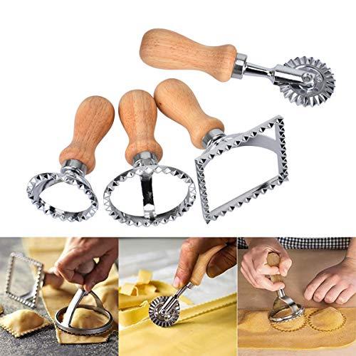 Queta Set di timbri per ravioli,4 Pezzi Timbro per taglierini Ravioli,Taglia Pasta Sfoglia Fresca, Stampo Ravioli in Acciaio Inox ,usati per ravioli, pasta, lasagne, gnocchi