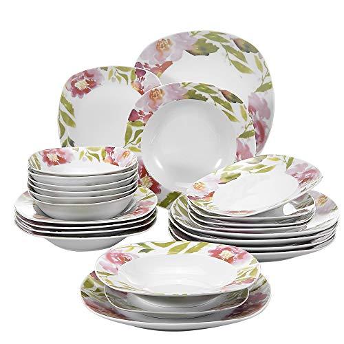 Veweet ASHLEY 24pcs Service de Table Pocelaine 6pcs Assiettes Plates 24,6cm, 6pcs Assiette Creuse 21,5cm, 6pcs Assiette à Dessert 19cm, 6pcs Bols à Céréales 17cm Vaisselles pour 6 Personnes Fleuri