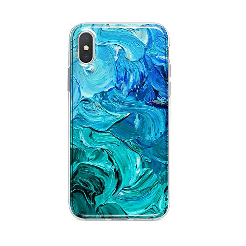 Obbii Case for iPhone X/XS(5.8 inch) Blue Watercolor Paint Design Shockproof Slim TPU Flexible Soft Silicone Protective Durable Cover Case Compatible with iPhone X/XS