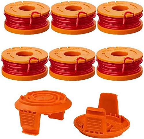 YANQIN Hilo de cortacésped para todos los cortacéspedes WORX, carretes de hilo de repuesto duraderos para una velocidad de corte mejorada - Ø 1,65 mm, 3 m de longitud (6x carrete + 2x tapa)