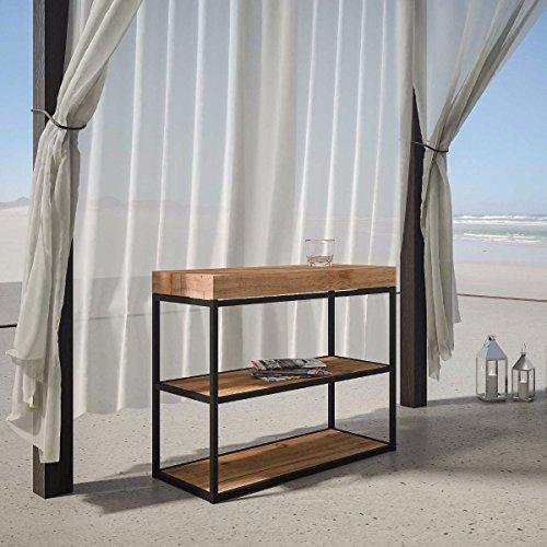 L'Aquila Design Arredamenti ITAMOBY - Console d'extérieur en sapin naturel, longueur 90 cm, profondeur 40 cm, hauteur 77 cm, avec rallonges simples et sac pour rallonges