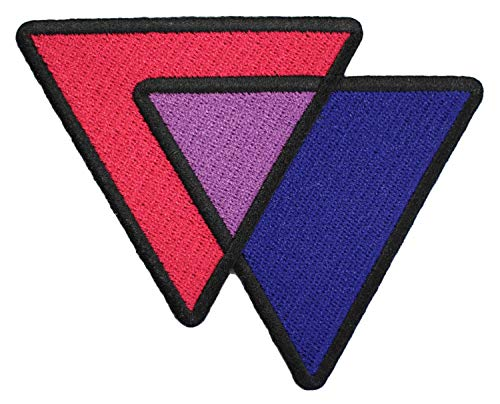 Bisexual Triangles Biangles Pink Lavender Blue - 4 inch Iron-on Embroidered Patch