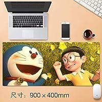 拡張大型プロフェッショナルゲーミングマウスパッド日本のアニメドラえもんビッグベアー表マット厚み付けノンスリップゴム耐水性デスクマットのノートパソコンのキーボードパッドで縫製エッジ90 * 40センチメートル (サイズ : Thickness: 3mm)