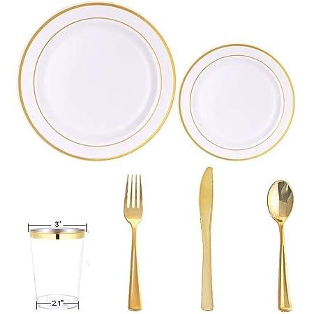 Juego de vajilla de plástico desechable para 20 invitados – Cubiertos dorados en total 120 piezas paquete de fiesta para cumpleaños boda – tenedores, cucharas, cuchillos, tazas, platos de ensalada