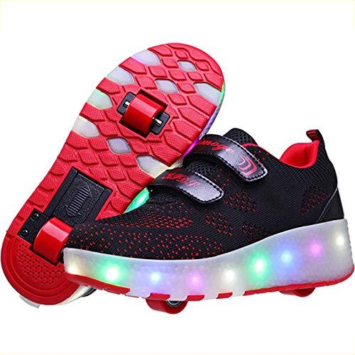BCXS Schuhe mit Rollen Kinder, Rollschuhe mit LED-Blitz Mehrzweckschuhe mit Rollen, S,38