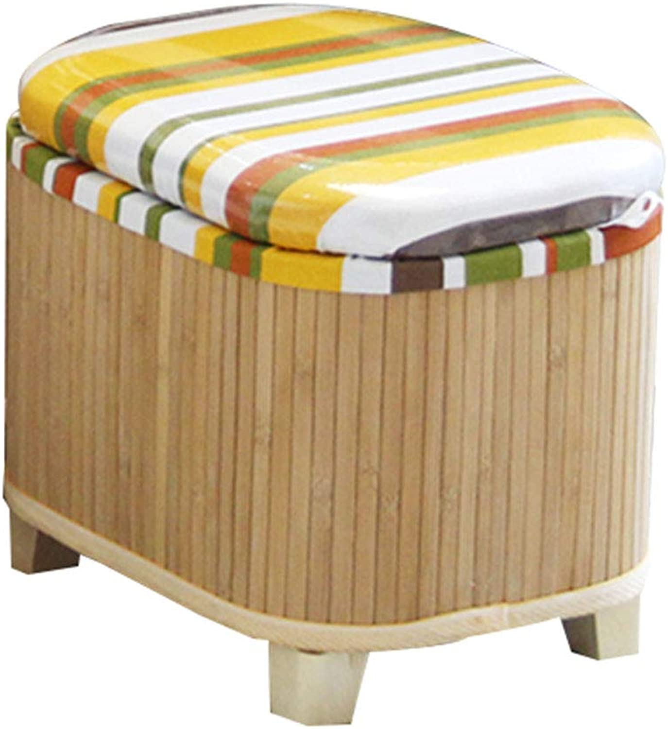 CAIJUN Footstool Household Multifunction Bamboo Frame Washable Storage Whole Outfit Non-Slip, 4 colors, 2 Sizes (color   Wood color, Size   31x25x27cm)
