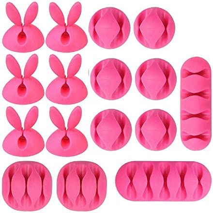 Cable Clips Organizer 16 Pack Pink Cable Management Wire Holder System Adhesive Cord Hooks for product image