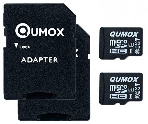 2pcs Pack QUMOX 32GB MICRO SD MEMORY CARD CLASS 10 UHS-I 32 GB 32Go Go carte mémoire HighSpeed Write Speed 15MB/S read speed upto 70MB/S