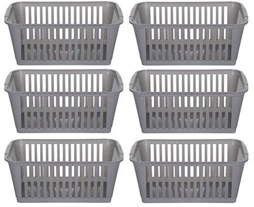 Whitefurze 25cm Silber Kunststoff Handy-Korb ablagekorb - Set aus 6