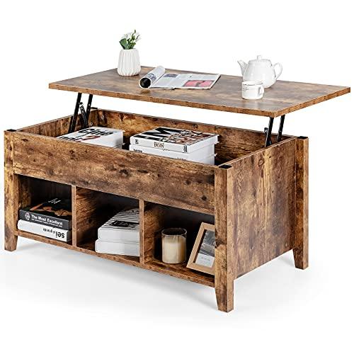 GOPLUS Table Basse Moderne, Table Basse de Salon à Plateau Relevable, Table Basse Transformable avec Compartiment Caché et Espace de...
