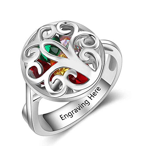 Personalized Mother Rings With Simulated Birthstone Encased Cage Family Tree Rings Anniversary Rings for Mom Grandma (8)