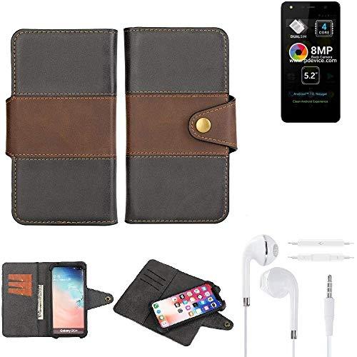 K-S-Trade® Handy-Hülle Schutz-Hülle Bookstyle Wallet-Case Für -Allview A9 Lite- + Earphones Bumper R&umschutz Schwarz-braun 1x