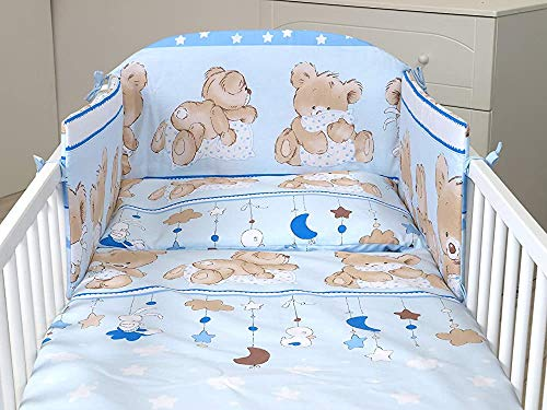 Baby Bedding, Crib kit for Three Cribs, Duvet Covers, Pillow Cases, Bumper,140X70 Mattress Size-Blue CUTTE Teddy