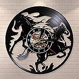 ERTOQ Reloj de Pared de Vinilo Pareja, Caballos, Funcionamiento Record Clock Vintage Registro de Vinilo Regalo Hecho a Mano hogar Decoración 7 Colores luz Nocturna 30x30cm- Sin LED