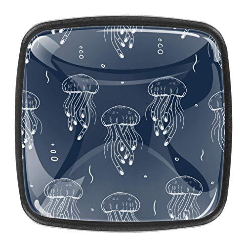 [4 unidades] pomos de armario de cocina sólidos cuadrados, tiradores de gabinete de cajón, medusas marinas, fondo azul marino
