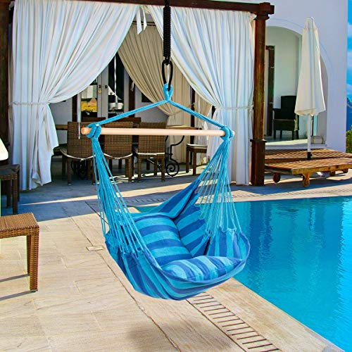 RELAX4LIFE Hängesessel, Hängesitz mit 2 abnehmbaren Kissen, Hängestuhl mit dickem Seil, Hängeschaukel für Kinder & Erwachsene, für Balkon & Wohnzimmer, bis zu 160 kg belastbar, waschbar (Hellblau) - 3