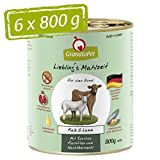 GranataPet Liebling's Mahlzeit Kalb & Lamm, Nassfutter für Hunde, Hundefutter ohne Getreide & ohne Zuckerzusätze, Alleinfuttermittel, 6 x 800 g