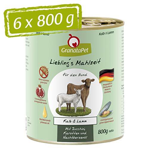 GranataPet Liebling's Essen Veau et Agneau Nourriture Humide pour Chien sans céréales ni Sucre ajouté 6 x 800 g