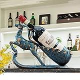 BANANAJOY Venado Azul Estante del Vino del refrigerador de Vino Decoración del estreno de Regalo Europeo y Americano de Inicio Casado Resina Artesanal Hecho a Mano Animal Adornos Elegante y Hermosa
