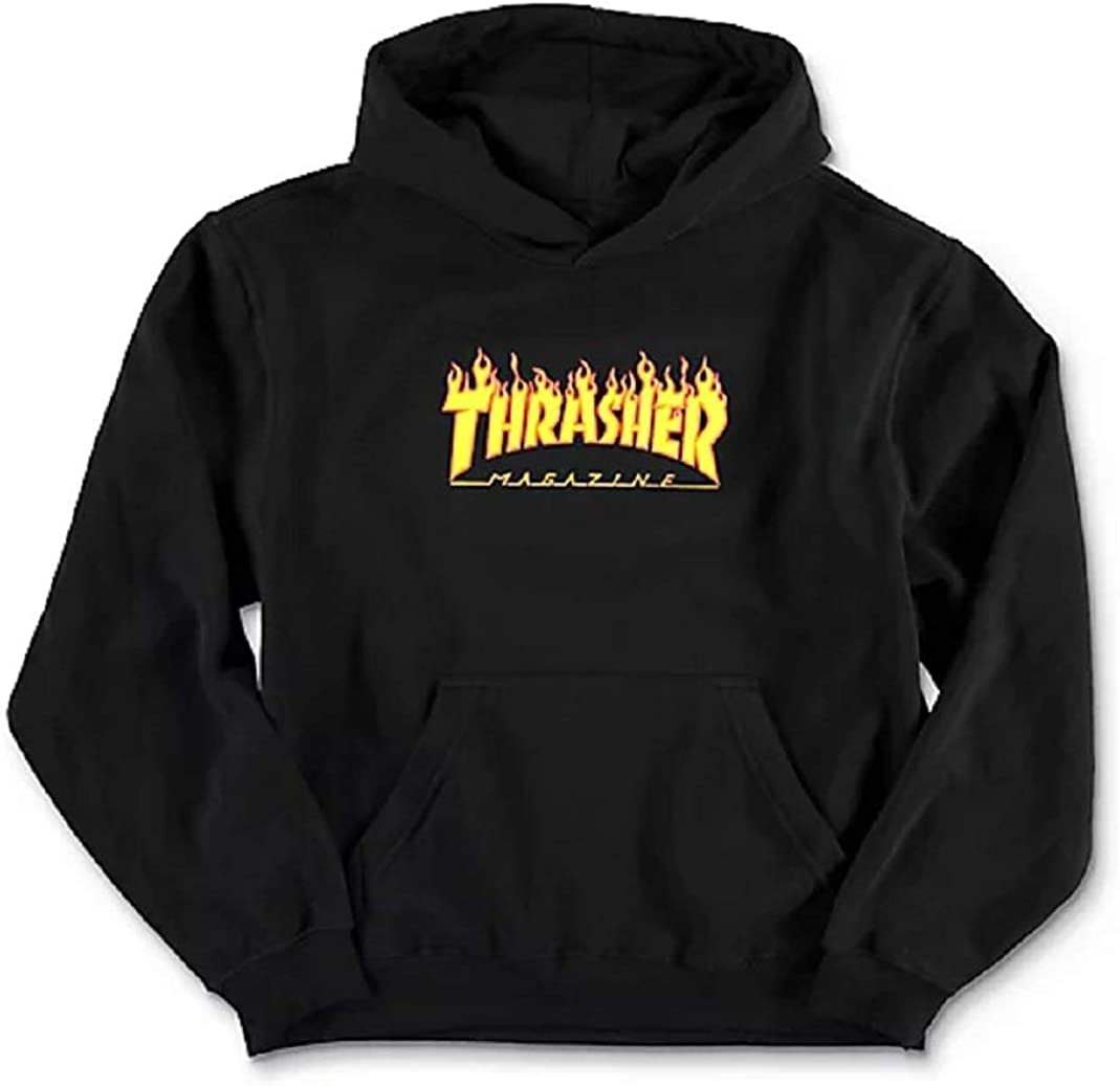 Thrasher Youth Flame Logo Black Hoodie Size Youth