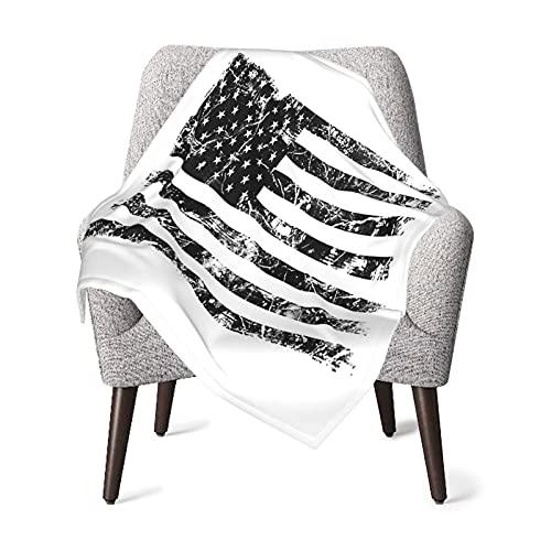Olverz Manta vintage de la bandera de América negra para el bebé, cómoda manta de bebé de felpa gruesa manta de bebé suave manta de bebé para cochecito cuna recién nacidos recibiendo