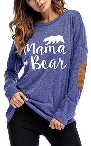 Little Hand Mama Bär Casual Langram - Sudadera de manga larga para mujer (cuello redondo) azul XL