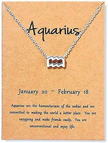 Yiffshunl Collar de Moda Vintage Escorpio Aries Virgo joyería 12 Collares con Colgante de constelación para Mujer Regalo de cumpleaños