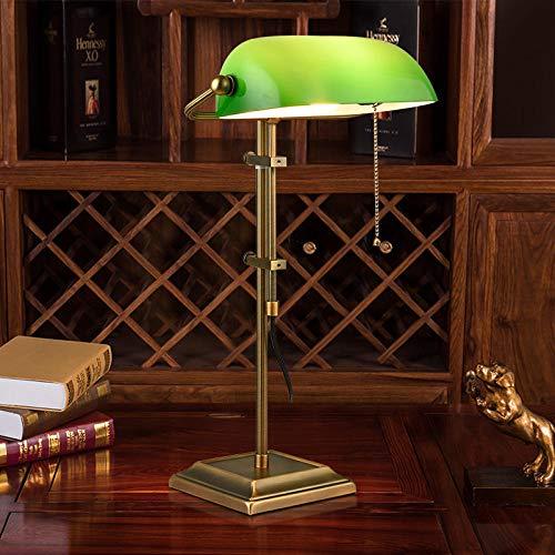 Lámpara de banquero tradicional, lámpara de escritorio de vidrio verde esmeralda de estilo antiguo, cuerpo de lámpara de metal, pantalla de vidrio, interruptor de cuerda de altura ajustable