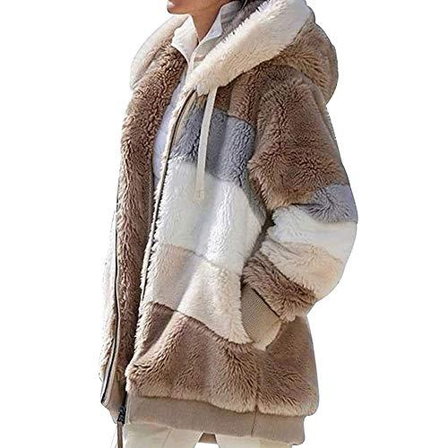 Yagerod Frauen kontrastierender Lammwoll-Polstermantel, winterwarme, lose Patchwork-Kapuzenjacke mit Reißverschluss und Kapuzenjacke für Damen mit offener Vorderseite und Taschen Brown 4XL