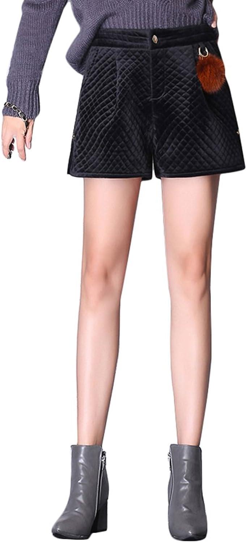 TSINY G Women's Elegant Slim High Waist Aline Shorts Winter Thicken Loose Wideleg Shorts ( color   Black , Size   XL )