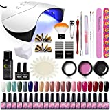 Saint-Acior Kit Poly Extension Construction Gel 20pc Vernis Semi Permanent 36W UV/LED Lampe à Ongles Quick Building Cleanser Plus Base Coat Top Coat Faux Ongle Manucure Nail Art