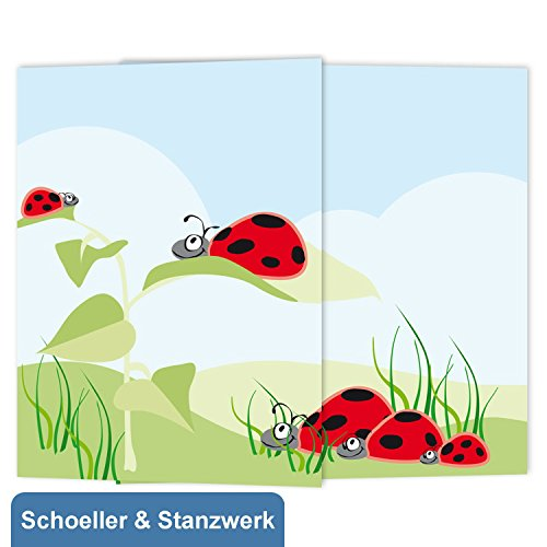 Schoeller & Stanzwerk© - 25 Stück 3-teilige Kindergarten- /Schulfotomappen für 13x18 cm Fotos - mit farbigem Druck