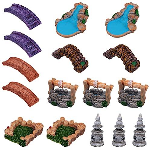 Yardwe 16Pcs In Miniatura Acqua di Pozzo Stagno Tower Bridge Modello di Luce Figurine Micro Paesaggio Aquarium Ornament Fata Decorazioni Da Giardino