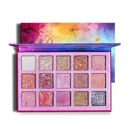 Qianren 15 Farben Marmor Lidschatten-Palette Schimmerndes Backpulver Pigmentierte Lidschatten-Pfanne mit Spiegel