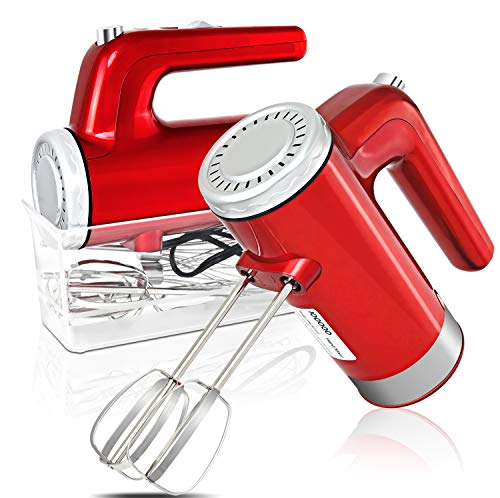 I00000 5-Speed Hand Mixer Electric, 400W Turbo Handheld Kitchen Mixer with Storage Case and 6 Stainless Steel Attachments(2 Beaters, 2 Dough Hooks and 2 Whisk), Red