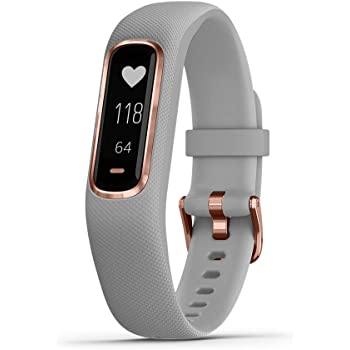 Garmin vivosmart 4, Activity and Fitness Tracker w/ Pulse Ox and Heart Rate Monitor, Rose Gold with Gray Band