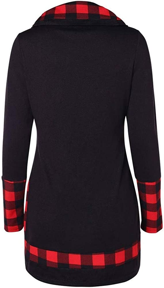 Xinantime Women Cowl Neck Plaid Shirts Patchwork Irregular Hem Button Blouse Long Sleeve Oversized Loose Tunic