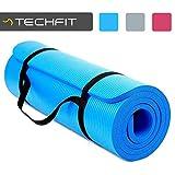 TechFit Tapis de Yoga et Fitness, Extra Epais 15mm, 180 x 60 cm, Parfait pour des Exercices au Sol, Le Camping, Le Gym, des Stretching, des Abdominaux, Les Pilates (Bleu)