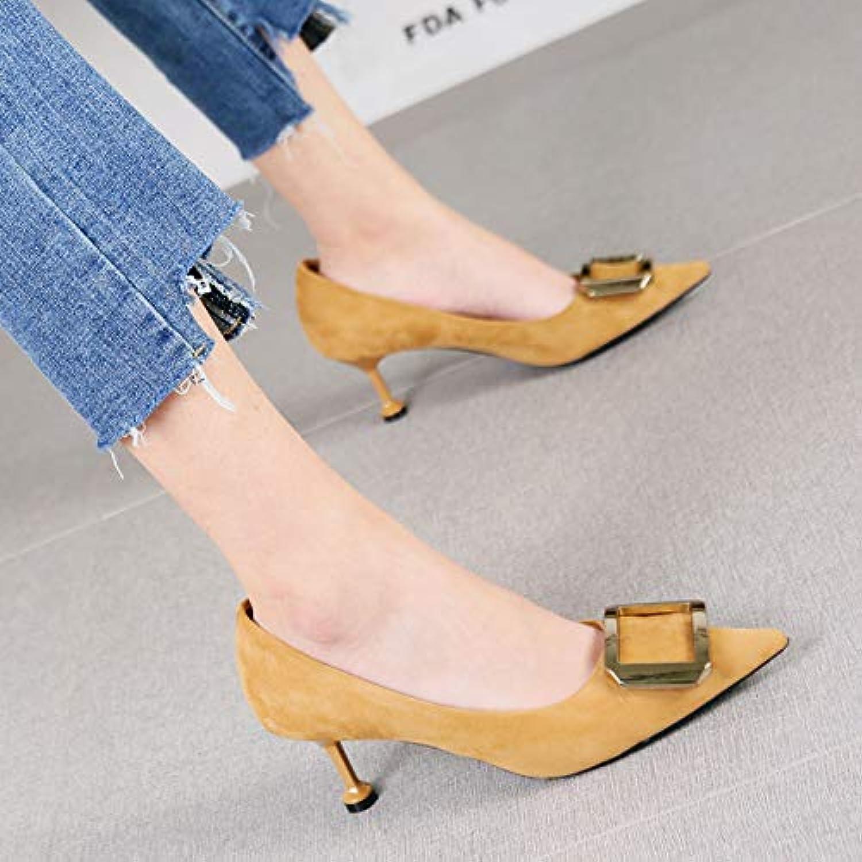 HRCxue Pumps Temperament Wildleder rote Hochzeit Schuhe Stiletto Heels Damenmode Metallschnalle 7cm einzelne Schuhe, 36, Aprikose  | Up-to-date-styling  | Hochwertige Materialien  | Großartig